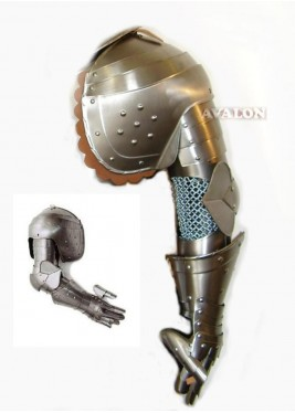 Medieval Full Arm Armor, Pauldron & Gauntlet