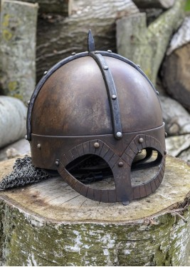 The Gjermundbu Helmet with riveted aventail, 2 mm steel