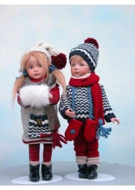 Porcelain Dolls - Baby in Winter - Dimensions: 29 cm