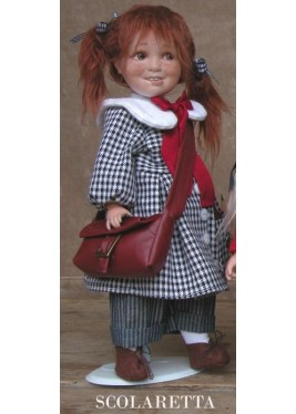Schoolgirl Doll, Collectible Porcelain Doll - Height: 13.8 in