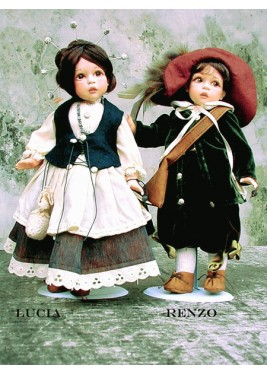 Porcelain Dolls: Renzo and Lucia - size: 34 cm