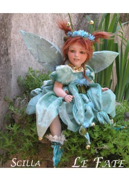 Scilla Fairy, Porcelain Fairy Doll 14.2 in, Porcelain Fairy Dolls