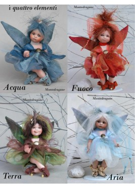 Fairy of the Elements (large) Porcelain Fairy Doll 8.7 in , Porcelain Fairy Dolls