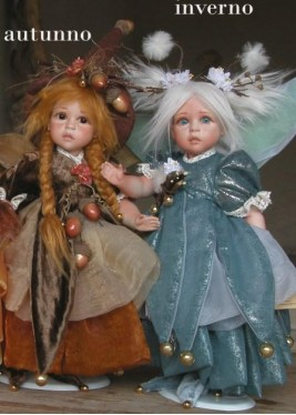 Fairy of Time: Autumn - Winter, Porcelain Fairy Doll 12.6 in