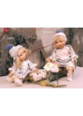 Didi and Dodo, Porcelain Dolls - Collectible Porcelain Doll - Height: 11 in