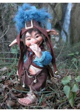 Pungitopo and Tamarind Porcelain Elf Gnome Doll, Porcelain Fairy Dolls