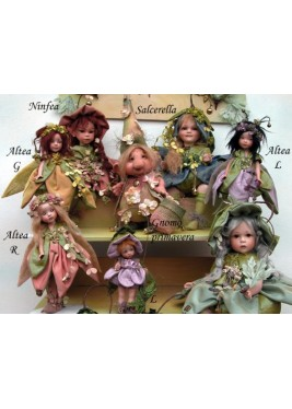 Ninfea Sitting Porcelain Fairy Doll - 7,5 in, Porcelain Fairy Dolls